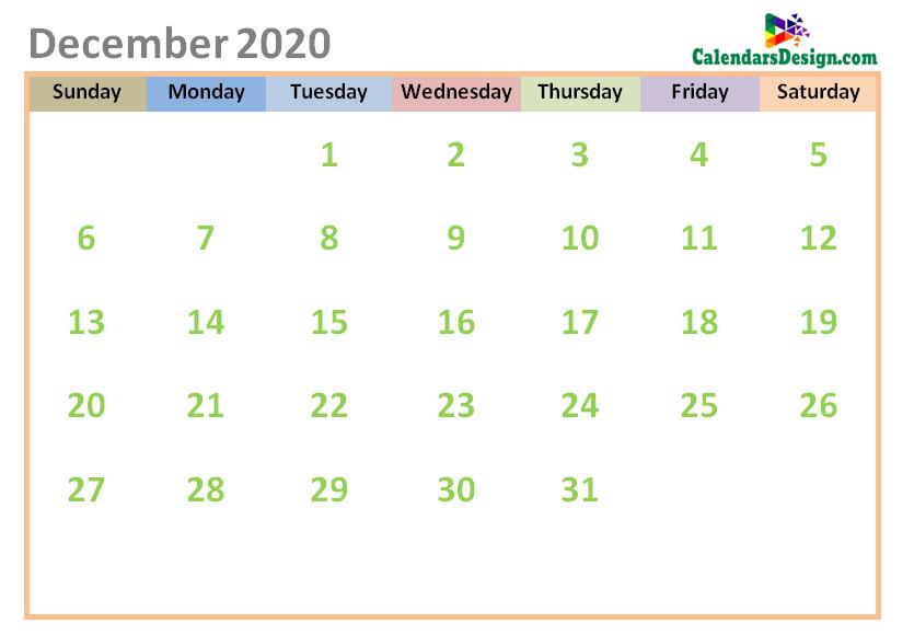 December 2020 Calendar Cute Designs