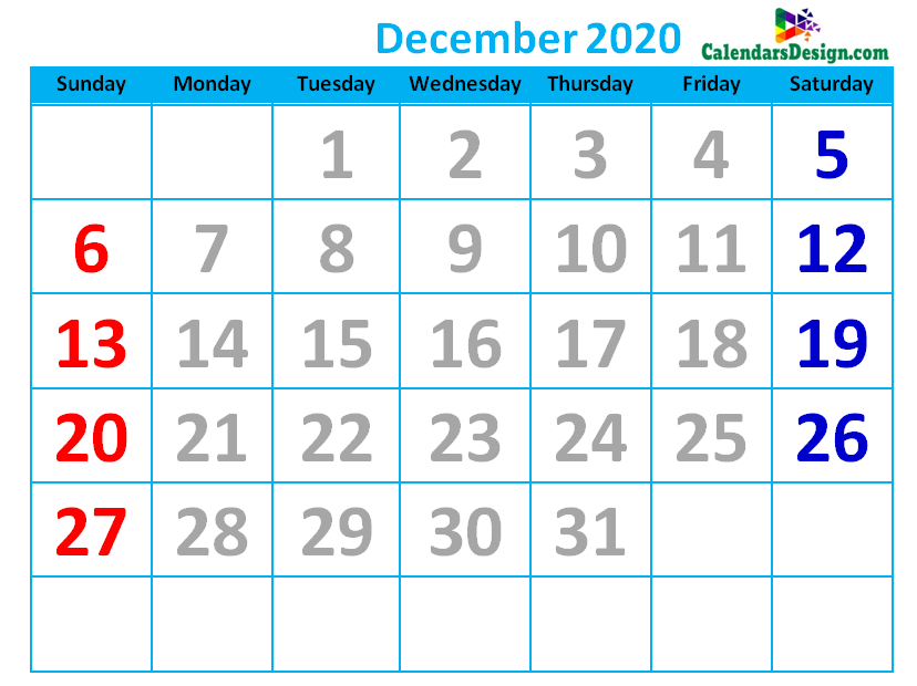 December 2020 Calendar Cute