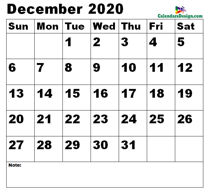 December 2020 Calendar Landscape