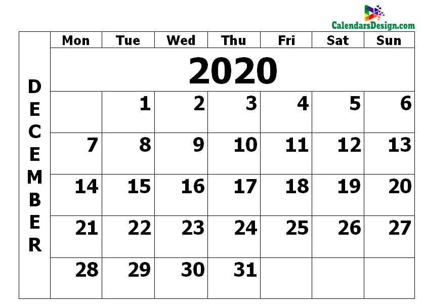 December 2020 Calendar PDF
