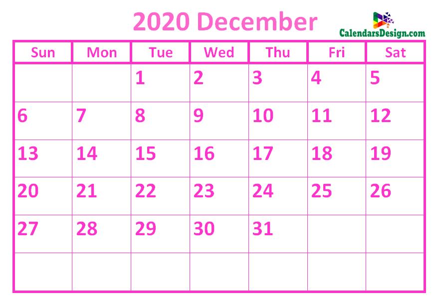 December 2020 Calendar Pink