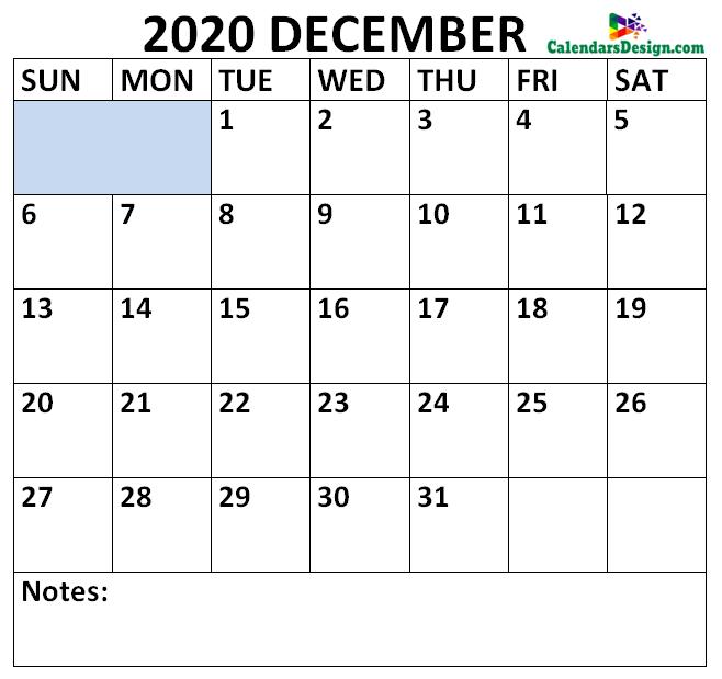 December 2020 Calendar Portrait