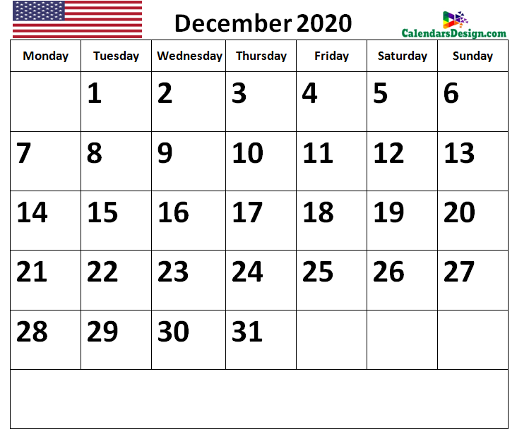 December 2020 Calendar US