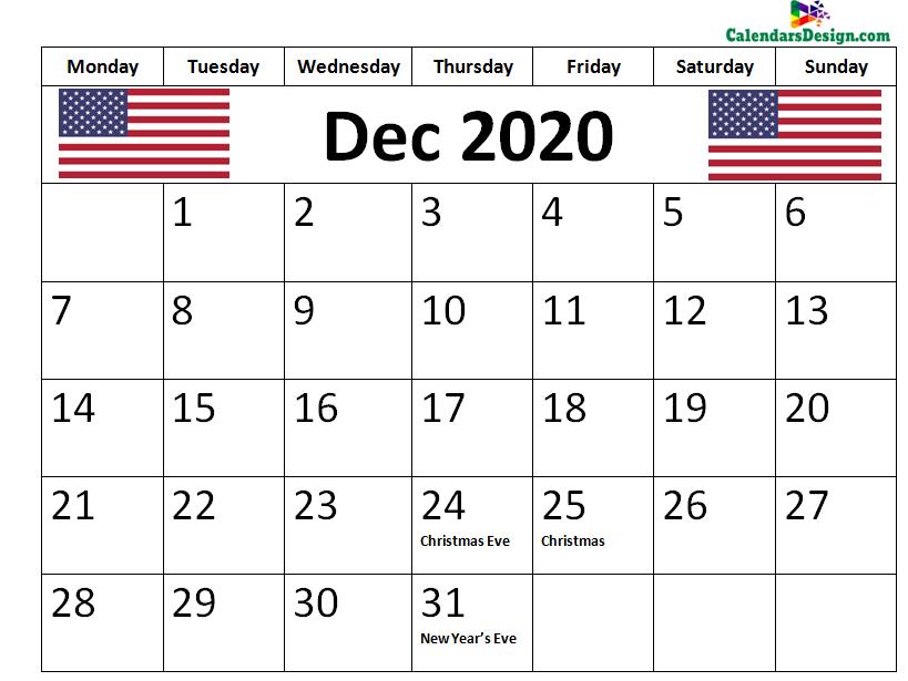 December 2020 Calendar USA With Holidays