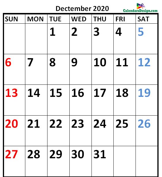 December 2020 Calendar Vertical