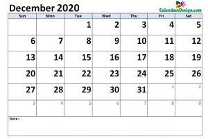 December 2020 Calendar Word Doc