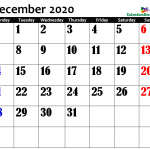December 2020 Calendar in Page