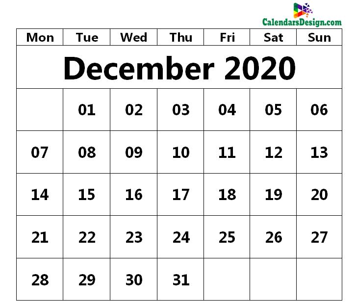 December 2020 Printable Blank Calendar