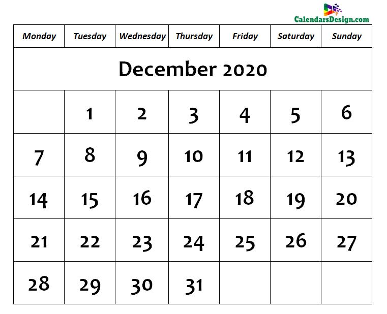 December Calendar 2020 Page