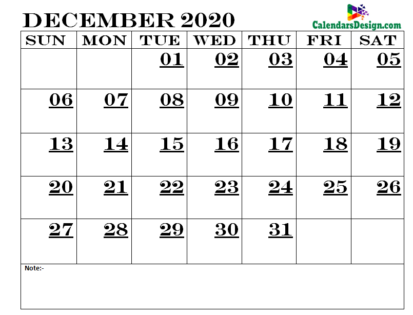December Calendar 2020 Printable