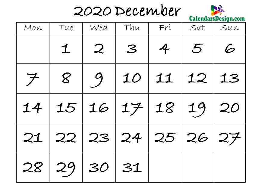 December Calendar 2020 Template
