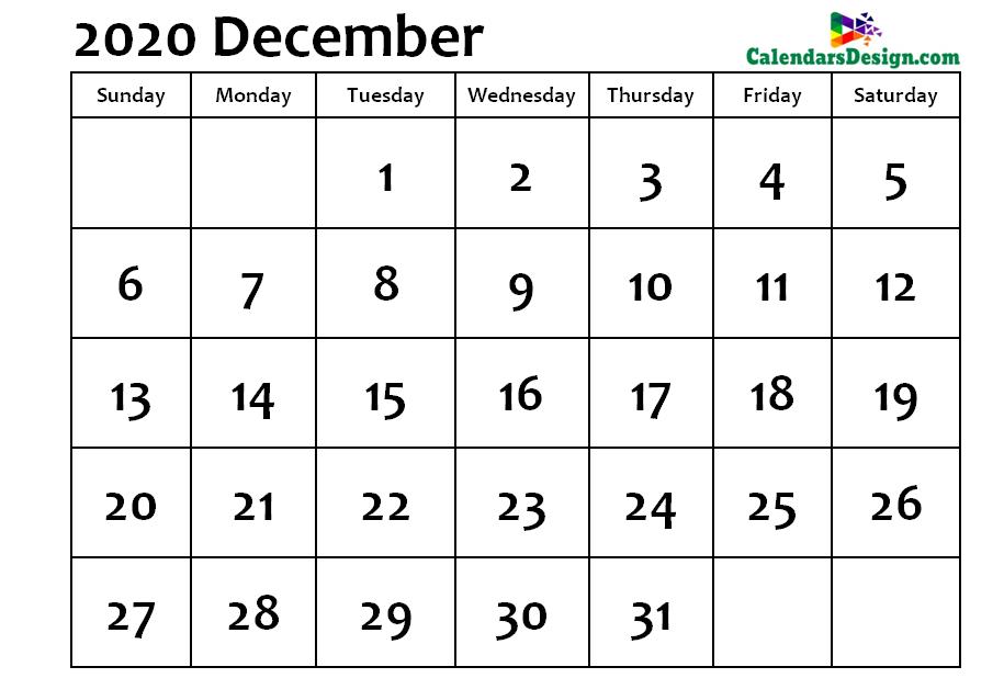 December Calendar 2020 Word Format