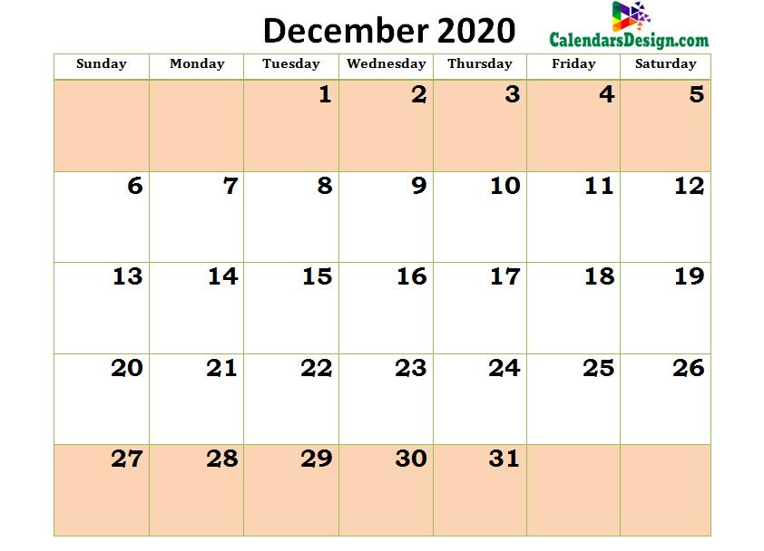 December Calendar 2020 in Excel Format