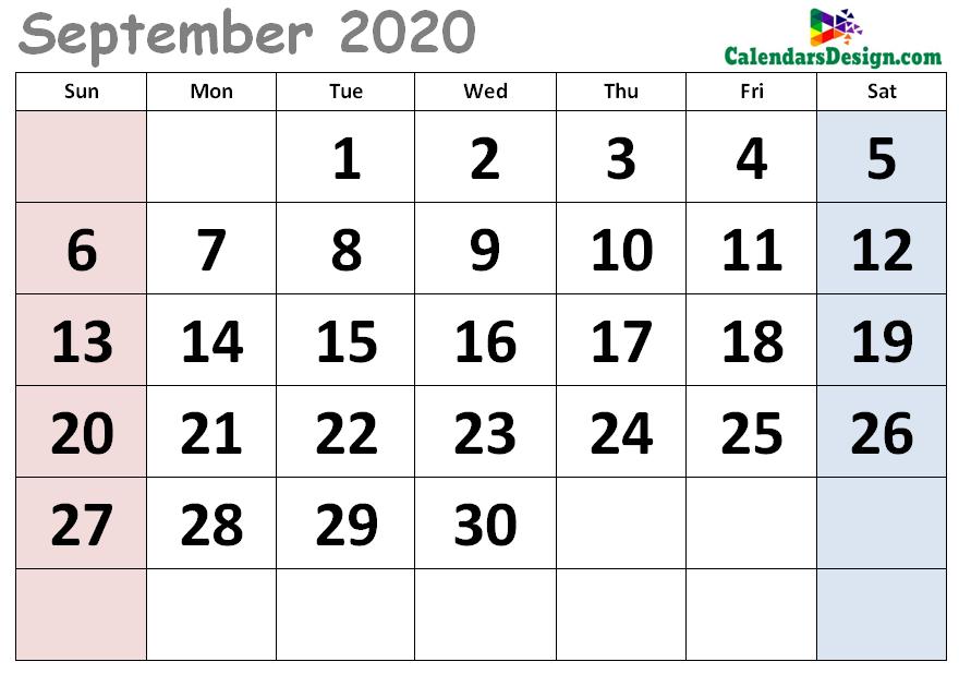 Decorative September 2020 Cute Calendar