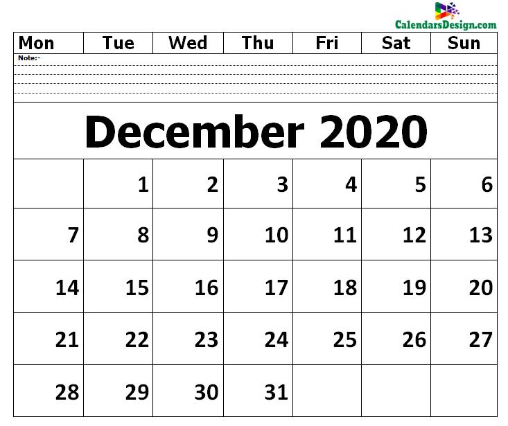 Editable December 2020 Calendar Blank Template
