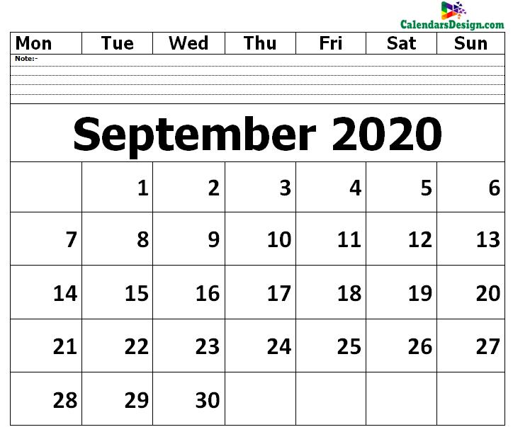 Editable September 2020 Calendar Blank Template