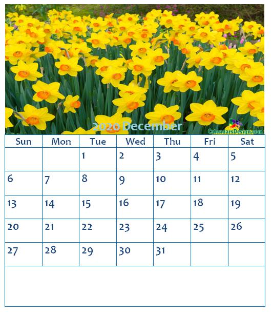 Floral December 2020 Wall Calendar