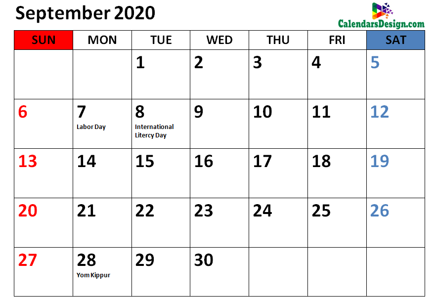 Holidays Calendar for September 2020