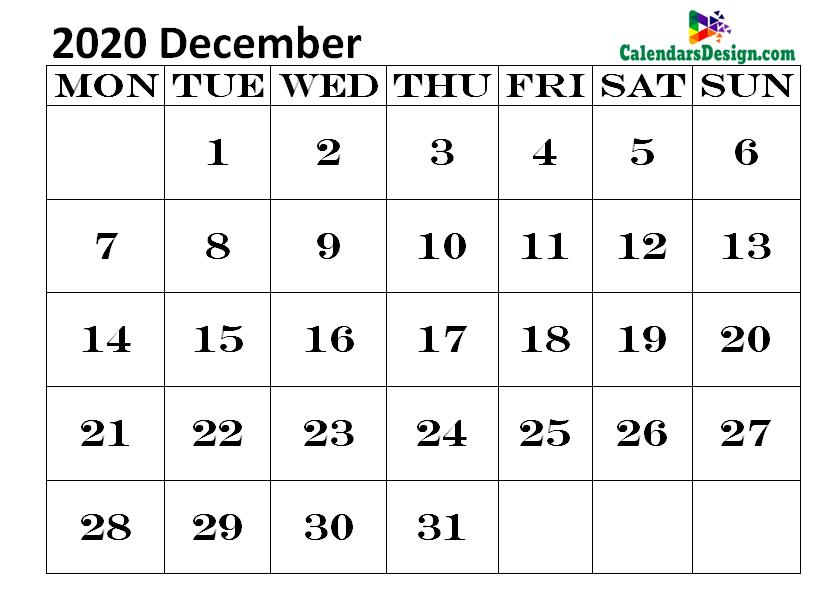 Printable Blank 2020 December Calendar Excel