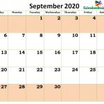 Printable Blank 2020 September Calendar Excel