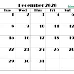 Printable Calendar for December 2020 PDF
