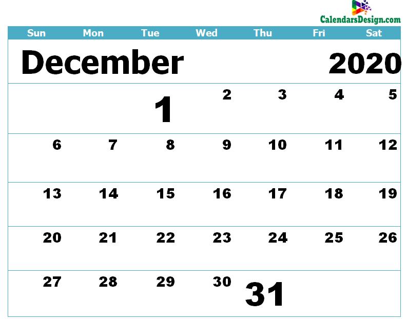Printable Calendar for December 2020 Templates