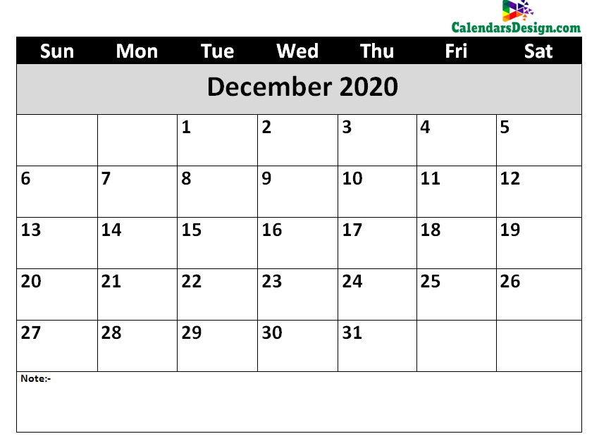 Printable Calendar for December 2020 Word