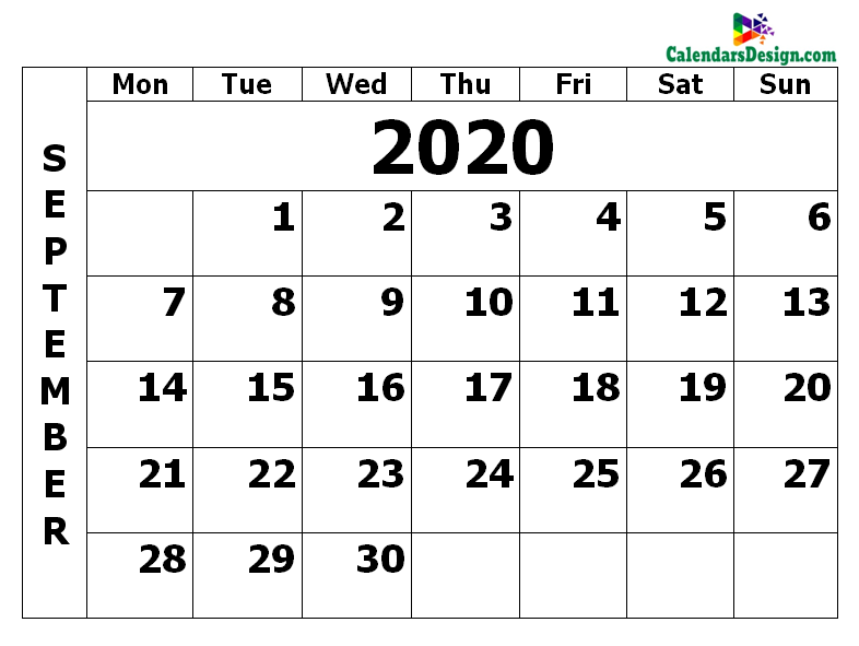 Printable Calendar for September 2020 PDF