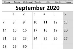 Printable Calendar for September 2020 Page