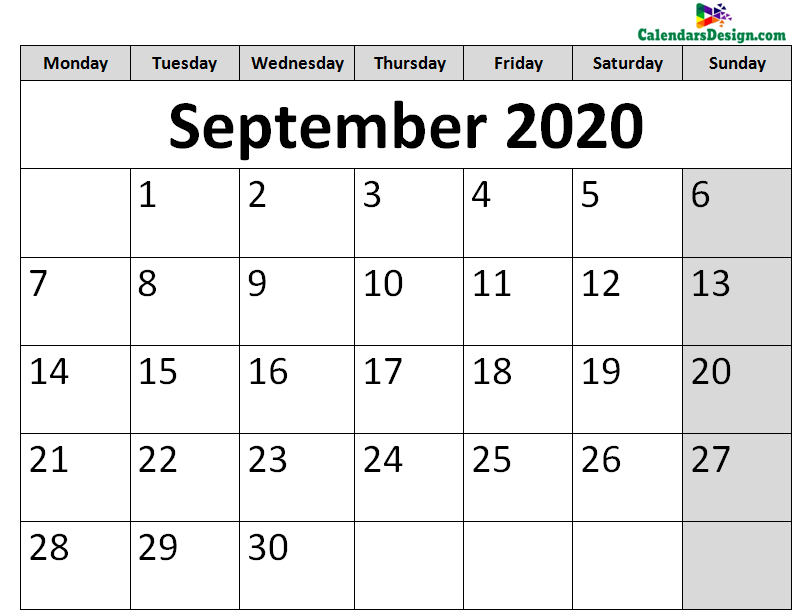 Printable Calendar for September 2020 Page