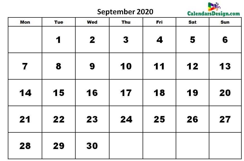 Printable Calendar for September 2020 Word