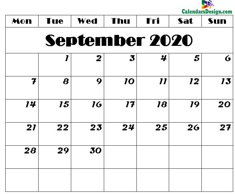 Printable Calendar for September 2020