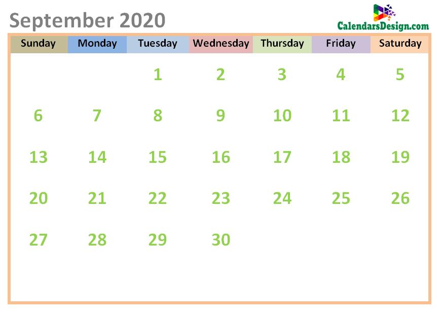 September 2020 Calendar Cute Designs