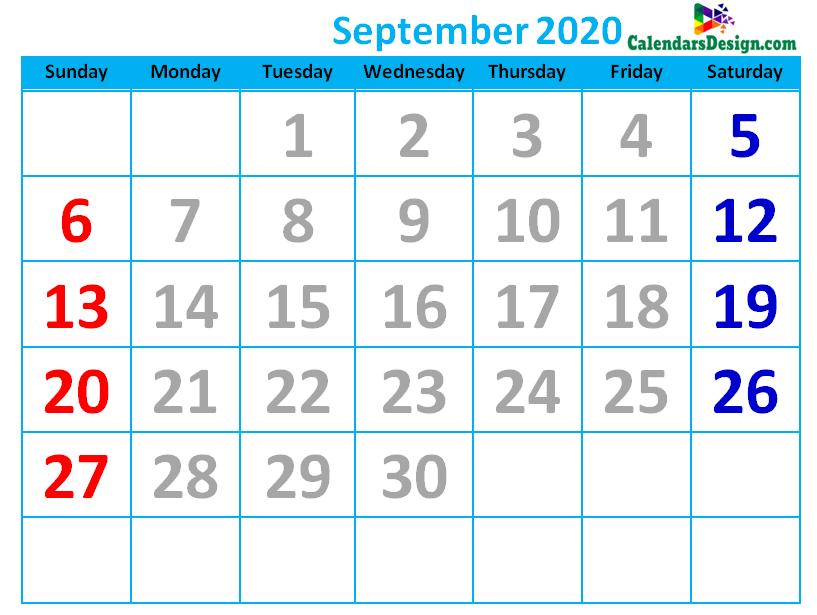 September 2020 Calendar Cute