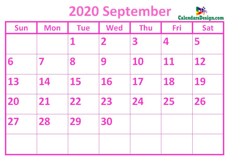 September 2020 Calendar Pink