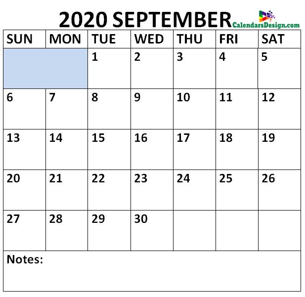 September 2020 Calendar Portrait