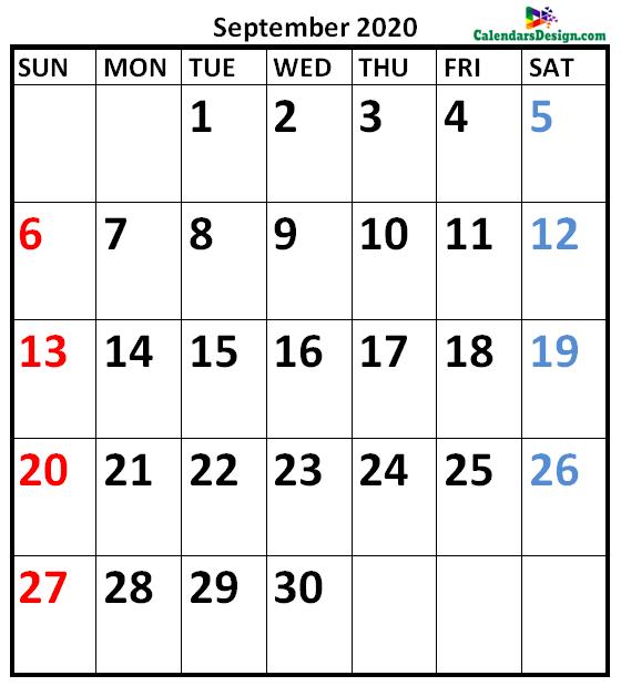 September 2020 Calendar Vertical
