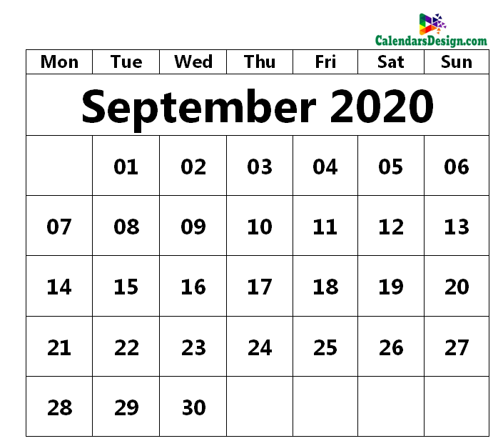September 2020 Printable Blank Calendar