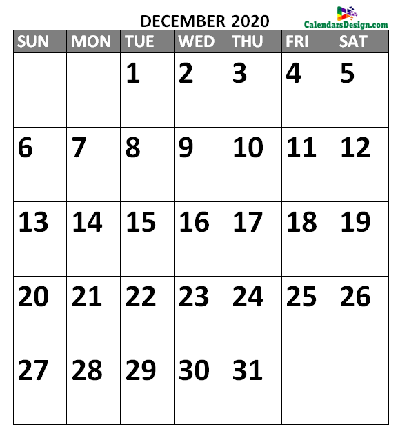 Vertex December Calendar 2020 Printable
