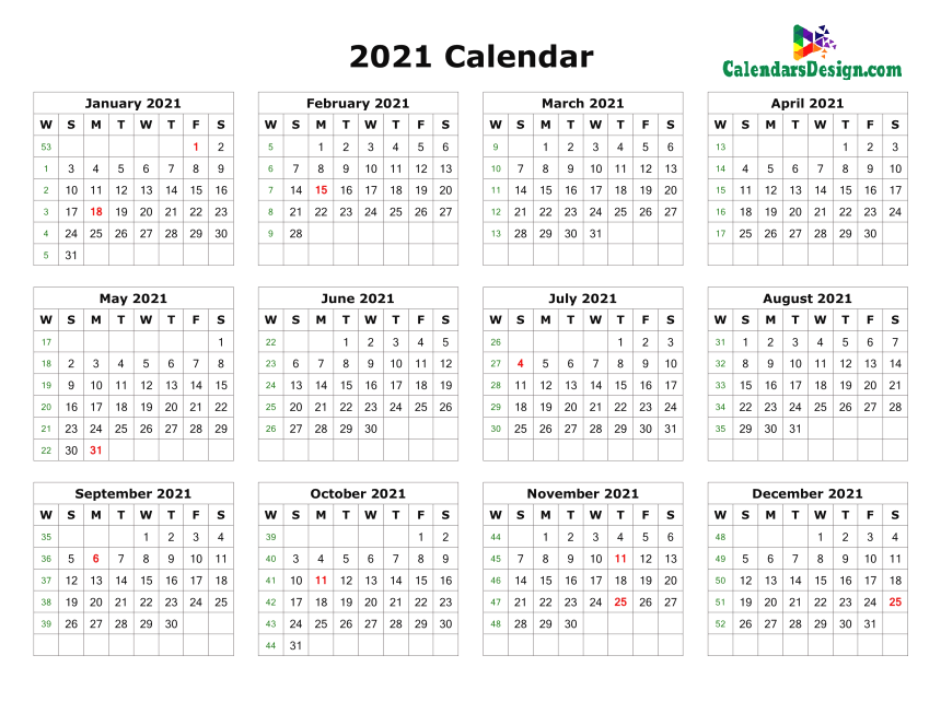 12 month calendar one page
