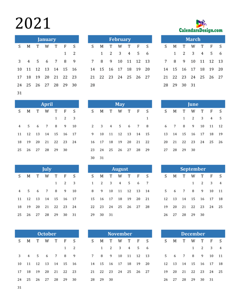 12 month calendar with holidays
