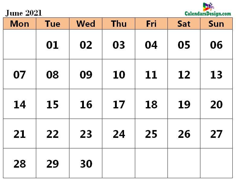 2021 Calendar June Excel Templates