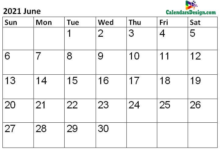 2021 Calendar June Template
