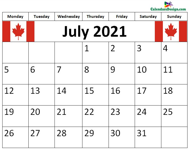 July 2021 Calendar Canada