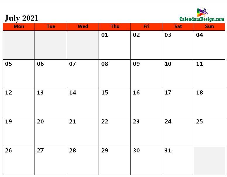 2021 July Calendar Holidays in Word