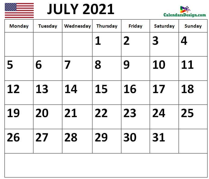 2021 July Calendar US