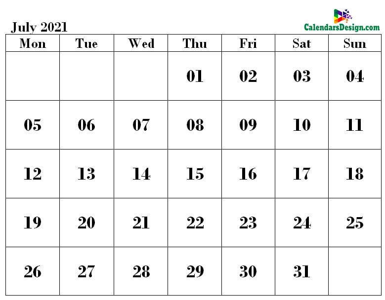 2021 July Printable Calendar PDF