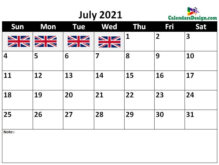 2021 July UK Calendar