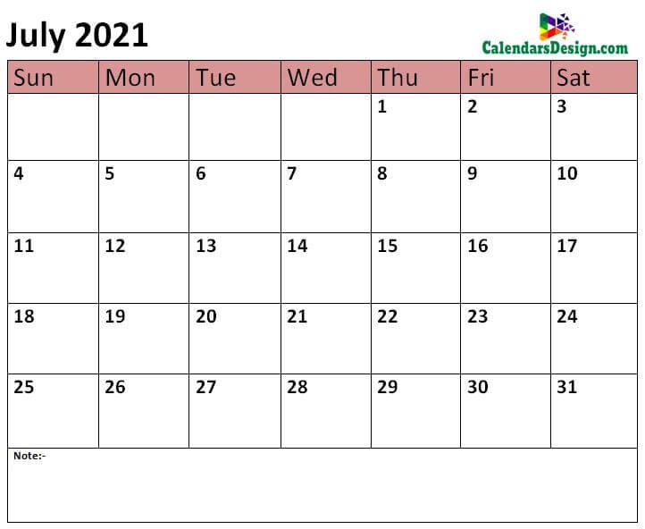 2021 July calendar template