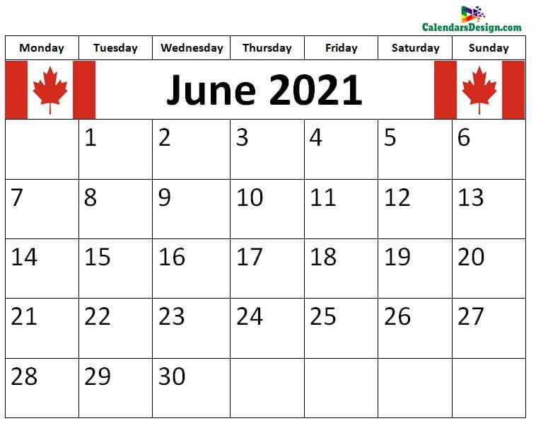 2021 June Calendar Canada